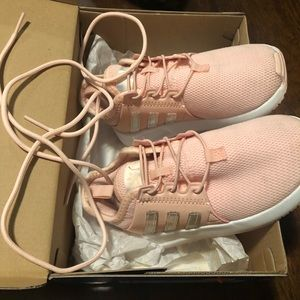 Adidas girls size 9. Pink and silver sneakers